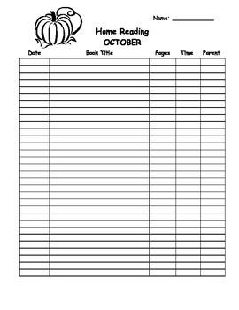 Home Reading Program template