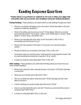 Home Reading Response Questions