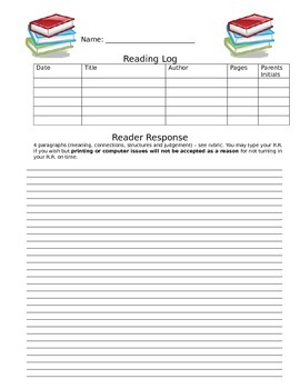 Home Reading Response form