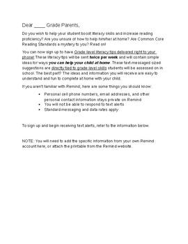 Home Reading Tips Letter