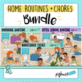 Home Routines and Chores Bundle of 3 Clipart Sets With Sec