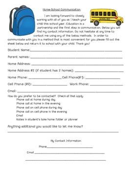 Home School Communication Form