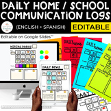 Home School Communication Sheets Editable