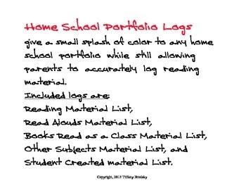 Reading Materials Logs for Home School Portfolio