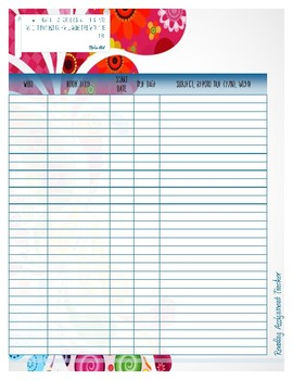Home School Reading Assignment Tracker