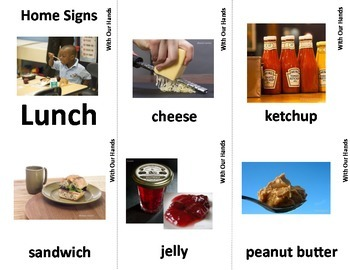 Home Series: Lunch Sign Language (ASL) Vocabulary Cards
