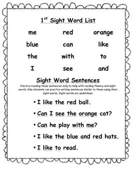 Home Sight Word Practice for Home Folder