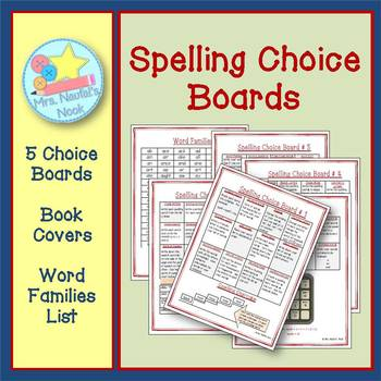 Spelling Choice Boards - Printable Choice Boards, Book Covers and Word Families
