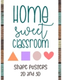 Home Sweet Classroom Rustic Shape Poster Set 2D and 3D