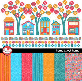 Home Sweet Home Clipart and Digital Paper Set by Poppydreamz