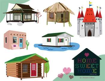 Home sweet home homes around the world clip art set tpt for Different kinds of houses