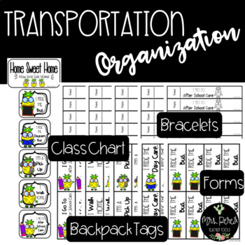 Home Sweet Home Transportation Tags, Forms, Bracelets, Chart & Backpack Tags