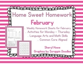 Kindergarten Homework: February Home Sweet Homework