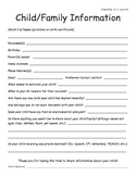 Home Visit Form - Child/Family Information
