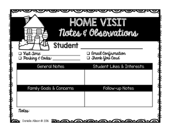 Home Visit Form FREEBIE