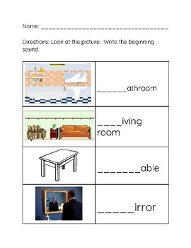Home Vocabulary- Beginning and Ending Sounds