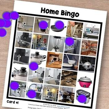 Home Vocabulary for ESL Adults BINGO CARDS