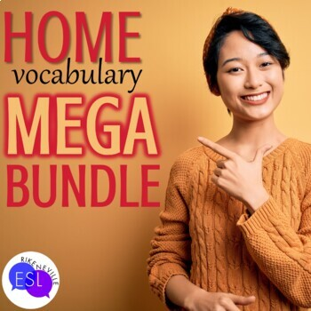Home Vocabulary for ESL Adults BUNDLE of worksheets, task cards, bingo, & more!