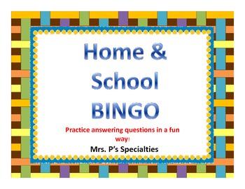 Home and School BINGO: Language based game