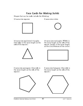 Home and School Math: Family Fun-Making Solids