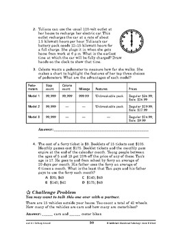 Home and School Math: Getting Around-Alternative Modes of Travel