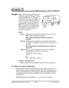 Home and School Math: Getting Around-Maintaining Your Vehicle