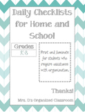 Home and School Organization Checklist