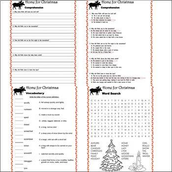 Home for Christmas Jan Brett Reading Comprehension Book Companion Activity Pack