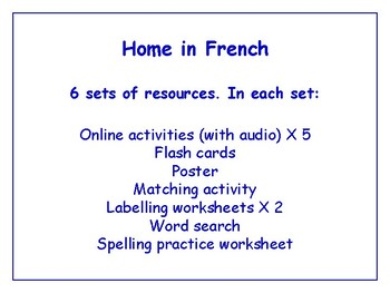 Home in French Worksheets, Games, Activities & More (with audio) Bundle