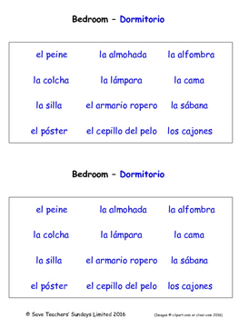 Home in Spanish Worksheets