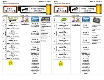 Home-learning Calendar Sample (4th Grade McGraw-Hill)