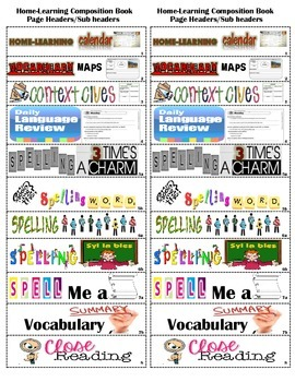Home-learning Interactive Notebook Sub-headers