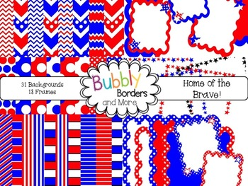 Home of the Brave!~ Chevron, Polka Dots & Striped Backgrounds with Frames