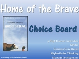 Home of the Brave Choice Board Novel Study Activities Menu Book Project