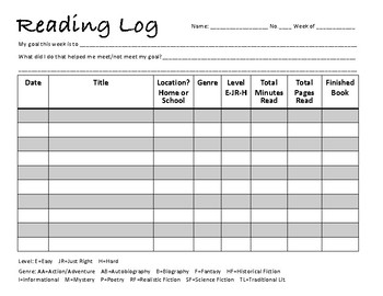 Home or School Reading Log