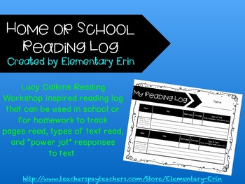 Home or school reading log reading workshop inspired