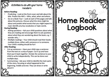 Home reader logbook and book list inserts