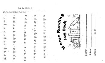 Home reading log booklet