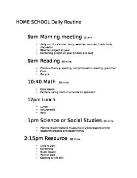Home school Daily Schedule