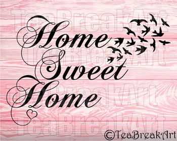 Home sweet Home bird Monogram Digital Cutting Files SVG PNG EPS dxf ClipArt 744C