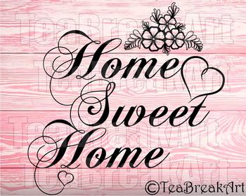 Home sweet Home bow Monogram Digital Cutting Files SVG PNG EPS dxf ClipArt 736C