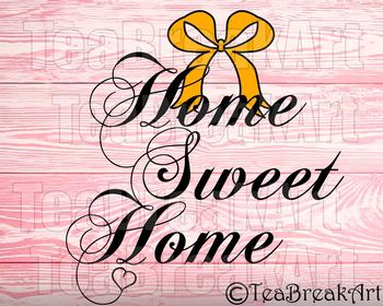 Home sweet Home bow Monogram Digital Cutting Files SVG PNG EPS dxf ClipArt 732C