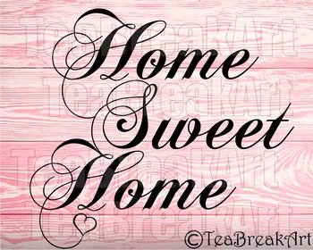 Home sweet Home bow Monogram Digital Cutting Files SVG PNG EPS dxf ClipArt 735C