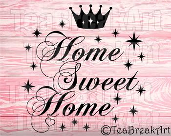 Home sweet Home crown Monogram Digital Cutting Files SVG PNG EPS dxf 743C