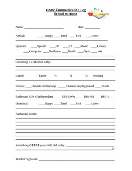 Home to School Daily Communication Log