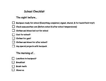 Student Organization Checklist:  Home to School