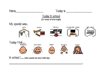 Home-to-school Communication Page