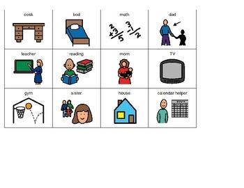Home vs. School Picture Sort (Boardmaker PDF)