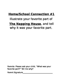 Home/School Connection for The Napping House by Audrey Wood