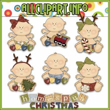 HomeSpun Christmas Babies Clip Art - Cheryl Seslar Clip Art